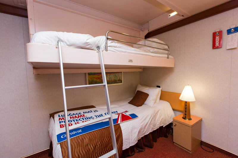 The Interior Cabin with Bunk Beds on Carnival Dream