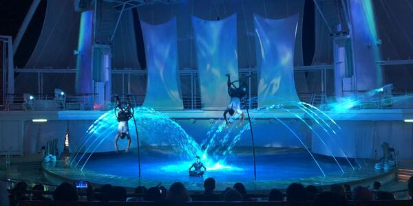 Hiro showing at the Aqua Theater on Symphony of the Seas (Photo: roscoe123/Cruise Critic Member)
