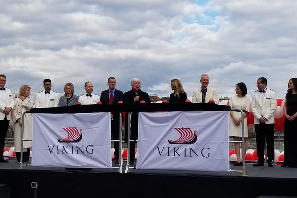 Viking Chairman Torstein Hagen welcomes guests at the Viking River christening in Basel, Switzerland (Photo: Colleen McDaniel/Cruise Critic)
