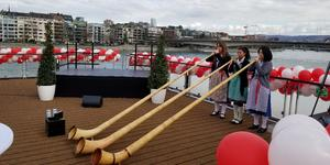A trio of alpenhorn players at the Viking River Cruises christening (Photo: Colleen McDaniel/Cruise Critic)