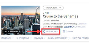 Use price alerts to get updates on cruise deals and fair changes for your selected sailing