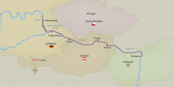 Map of the Upper Danube River (Image: Viking River Cruises)