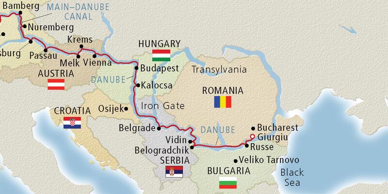 Map of the Lower Danube River (Image: Viking River Cruises)