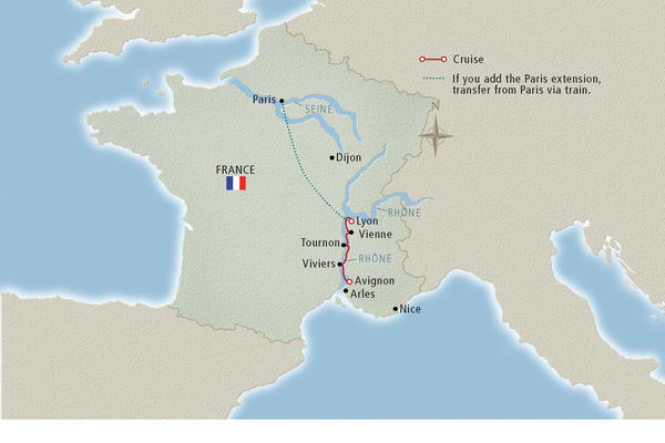 Map of a Rhone River cruise route (Image: Viking River Cruises)