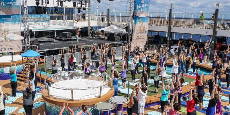 Group yoga session on the Sail Across the Sun Theme  (Photo: Will Byington/Sixthman)
