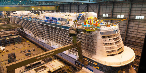 Spectrum of the Seas Under Construction at the Meyer Werft Shipyard in Papenburg, Germany (Photo: Royal Caribbean International)