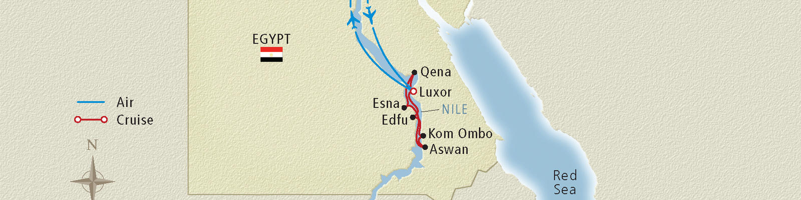 Map of a Nile River cruise route (Image: Viking River Cruises)