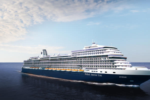 Artist Rendering of Ryndam, Holland America's forthcoming Pinnacle class cruise ship (Image: Holland America Line)