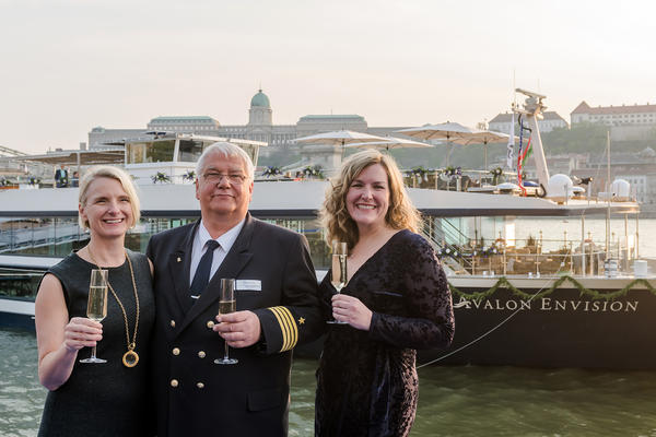 Elizabeth Gilbert, Captain Remus and Pam Hoffee at the christening of Avalon Envision in Budapest (Photo: Avalon Waterways)