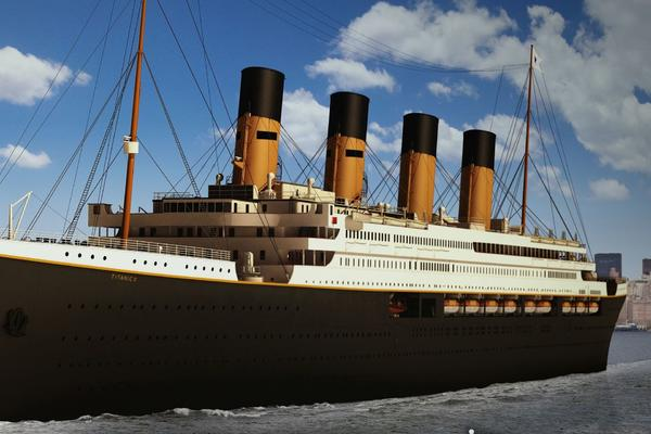 A rendering of the Titanic II departing New York City