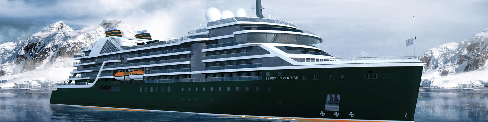Rendering of Seabourn Venture, with snow-capped mountains in the background