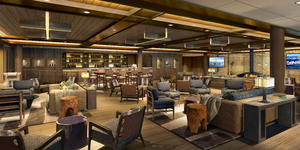Rendering of the dimly lit Expedition Lounge on Seabourn Venture