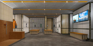 Rendering of The Landing Room mud room on Seabourn Venture