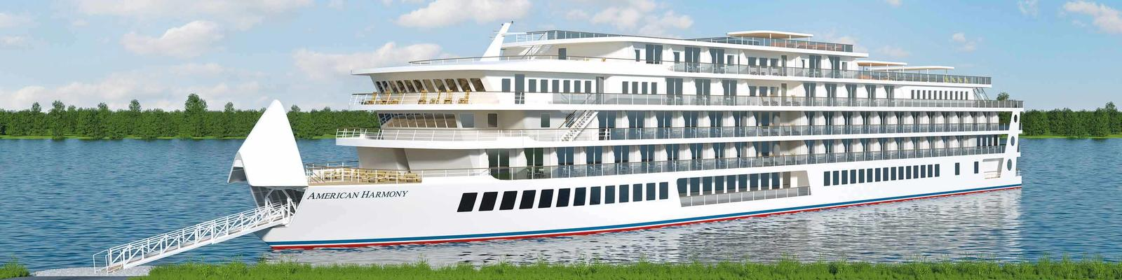 Rendering of American Harmony docked in port with gangway protruding from the front of the ship