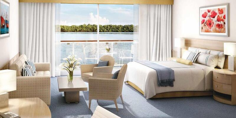 Rendering of a large suite with river views on American Harmony