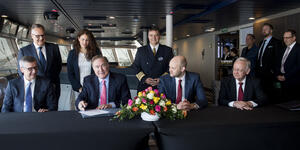 Royal Caribbean International executives accepting the delivery of Spectrum of the Seas from the Meyer Werft shipyard in Bremerhaven, Germany (Photo: Royal Caribbean International)