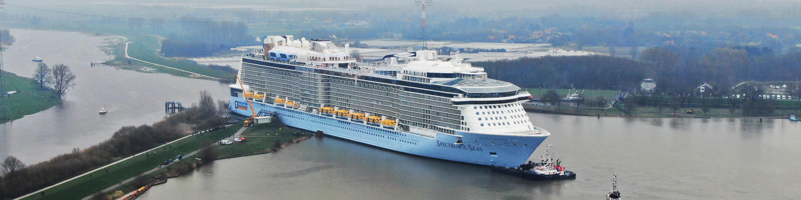 Spectrum of the Seas on its conveyance up the Ems River. (Photo: Royal Caribbean International)