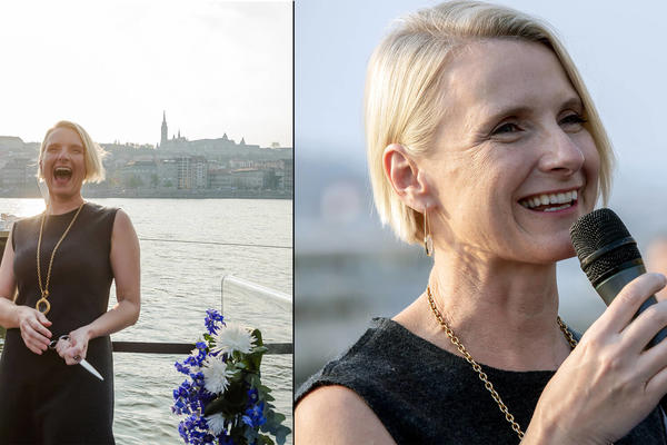 Composite photo of Elizabeth Gilbert speaking and smiling at the Avalon Envision christening