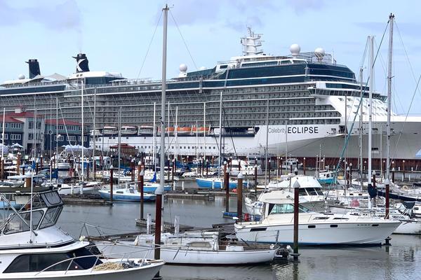 Celebrity Eclipse ship docked in Astoria, Oregon (Photo: Louise Goldsbury)
