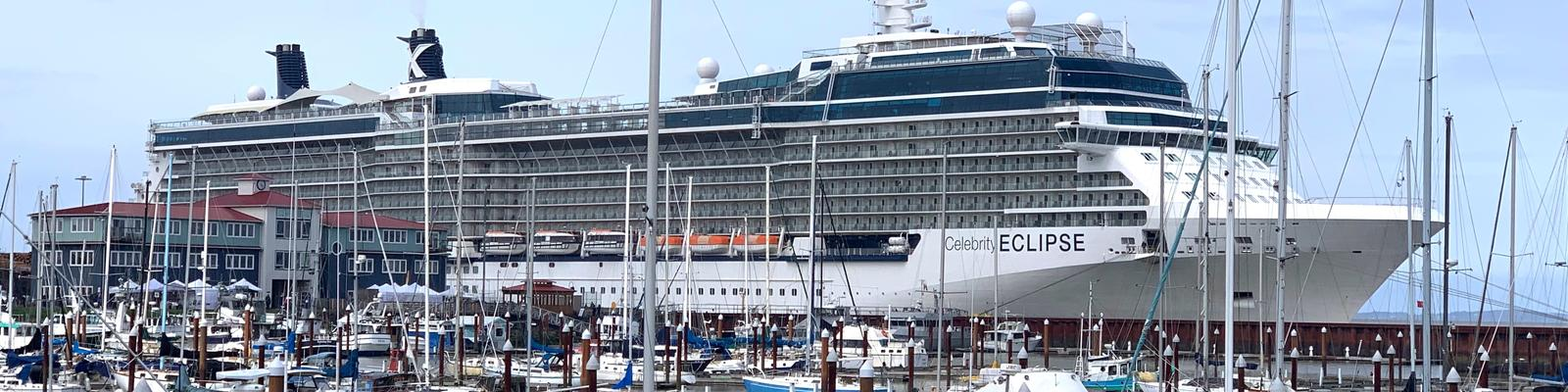 Celebrity Eclipse ship docked in Astoria, Oregon (Photo: Louise Goldsbury)