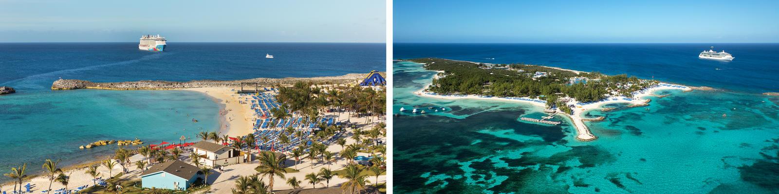 Great Stirrup Cay vs. CocoCay (Photo: Norwegian Cruise Line & Royal Caribbean International)