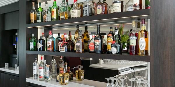 Spirits on display at the Bar on Avalon Illumination (Photo: Cruise Critic)
