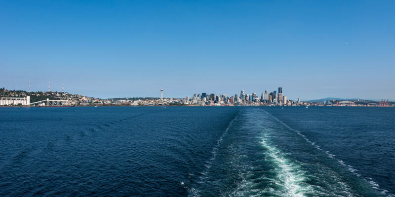Shot of Seattle skyline from a cruise ship at sea