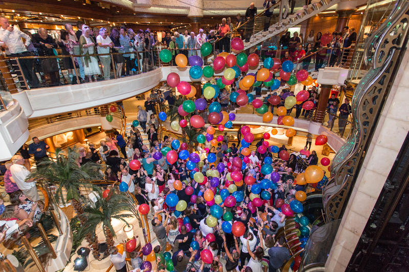 Balloon Drop Party in the Atrium on Coral Princess