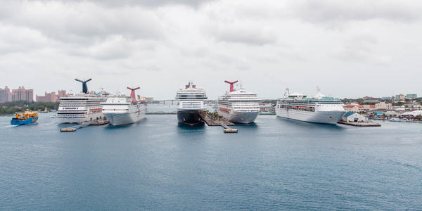 Popular cruise ships docked in Nassau, a favorite stop among cruisers. (Photo: Cruise Critic)