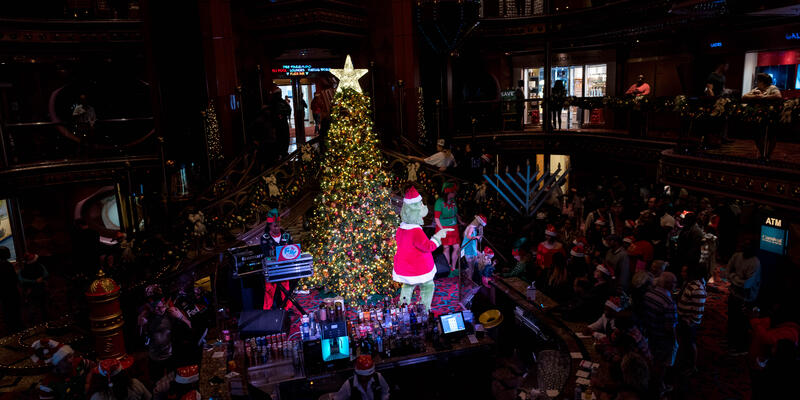 The Grinch Christmas Event in the Atrium on Carnival Elation