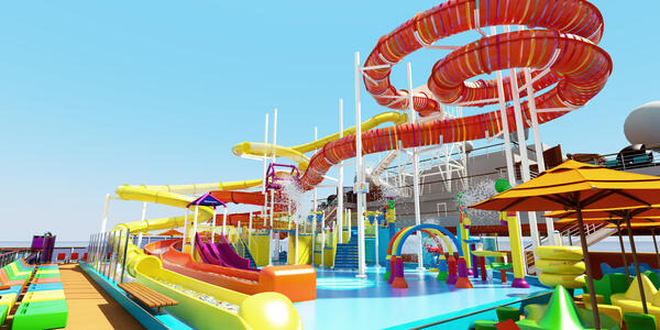 Artist rendering of the Carnival Waterworks on Carnival Panorama (Photo: Carnival Cruise Line)