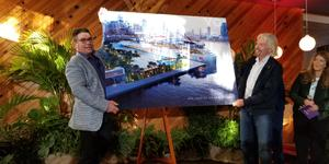 Virgin Group Founder Sir Richard Branson and Virgin Voyages CEO Tom McAlpin unveil plans for a new terminal in PortMiami. (Photo: Colleen McDaniel/Cruise Critic)