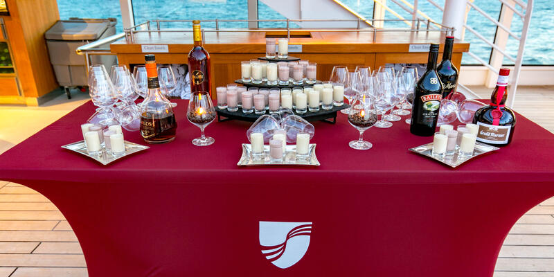 Spirits on display at the End of Cruise Celebration Dance Party on Seabourn Ovation (Photo: Cruise Critic)
