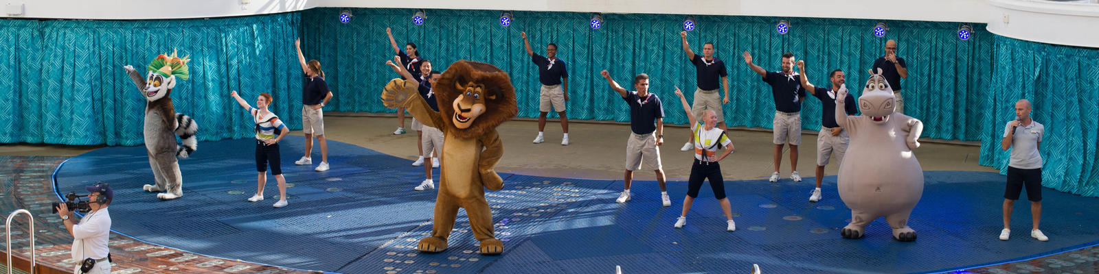 Dreamworks characters performing at the AquaTheater on Allure of the Seas (Photo: Cruise Critic)