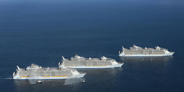 Aerial photograph of the Oasis class ships: Oasis of the Seas, Allure of the Seas and Harmony of the Seas - Photography provided by Royal Caribbean International