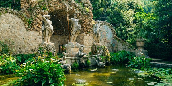 Photograph of the Fountain Neptune in the Trsteno Arboretum near Dubrovnik, Croatia -  Photography by nadtochiy via Shutterstock