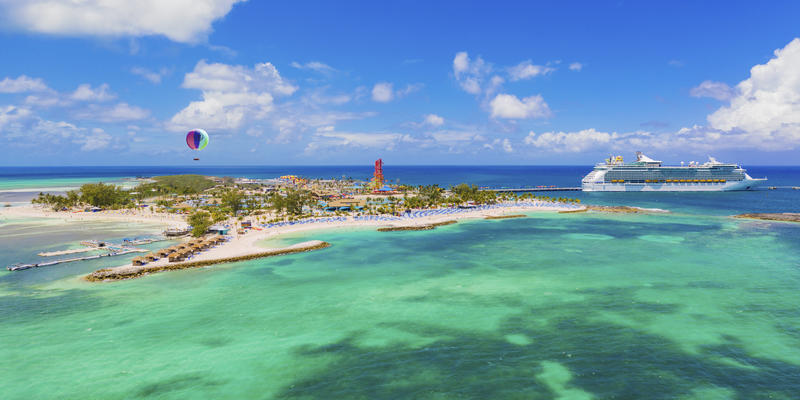 Photograph of Navigator of the Seas docked at the newly renovated CocoCay - Photography by Royal Caribbean International