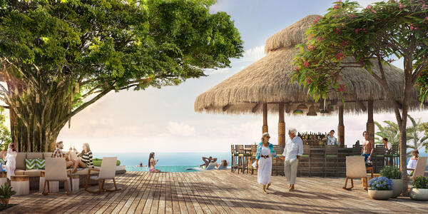 Photograph of the the exclusive Coco Beach Club on CocoCay - Photography by Royal Caribbean International