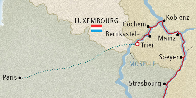 Map of the Moselle River - Image provided by Viking River Cruises