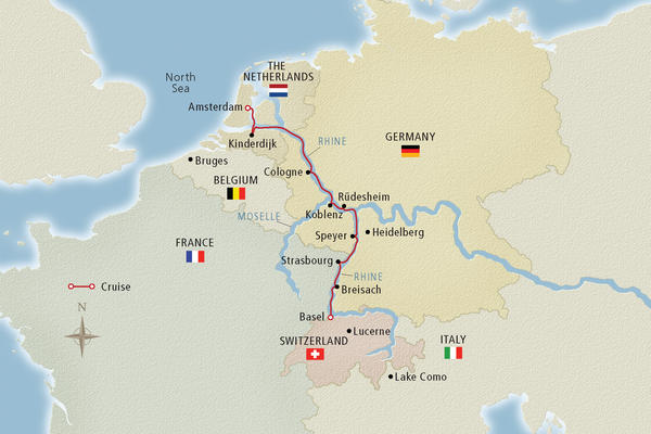 Map of the Rhine River - Image provided by Viking River Cruises