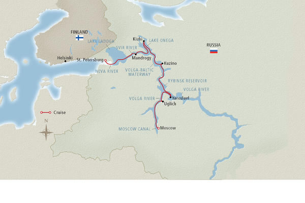 Image: Map of a Volga River cruise route - Map provided by Viking River Cruises