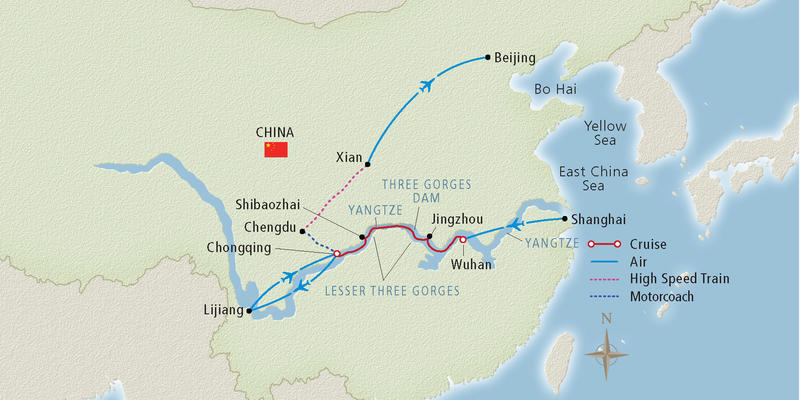 Image: Map of a Yangtze River cruise route - Map provided by Viking River Cruises