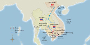 Image: Map of a Mekong River cruise route - Map provided by Viking River Cruises