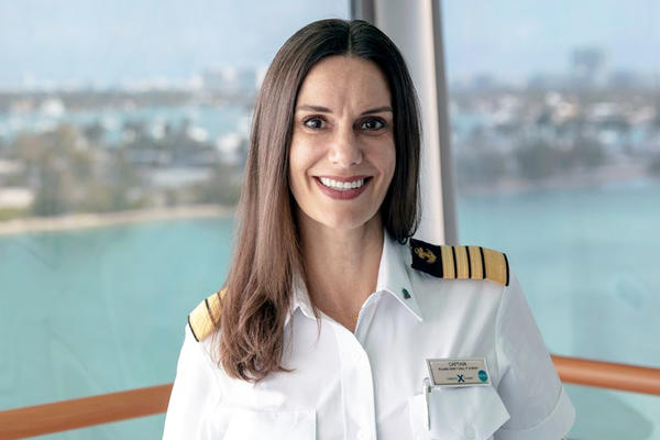 Image: Celebrity Cruises Captain Kate McCue and Celebrity Edge - Photo courtesy of Celebrity Cruises