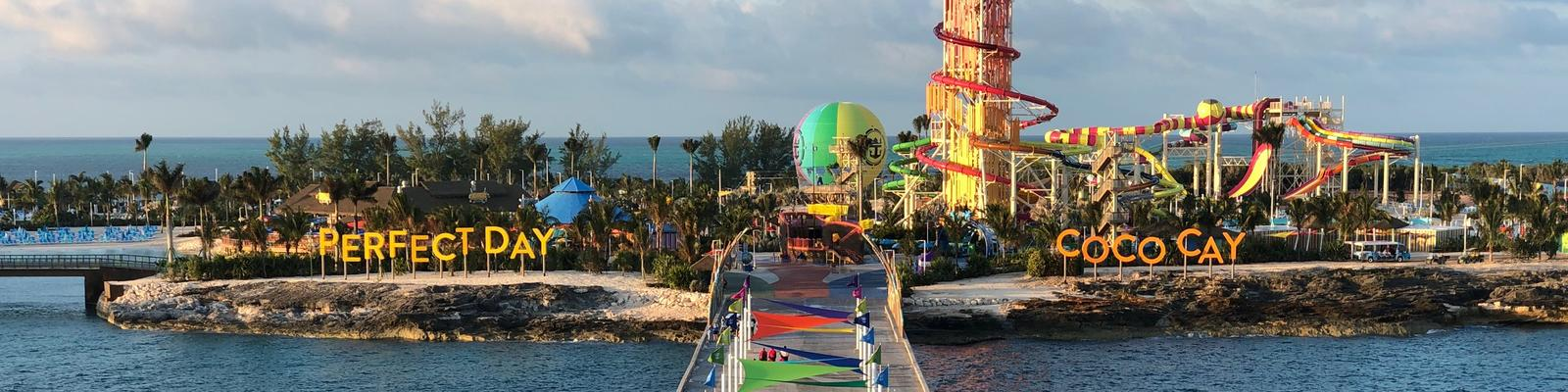 View of CocoCay at sunset from Royal Caribbean ship