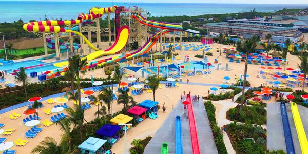 Aerial shot of the waterpark at CocoCay