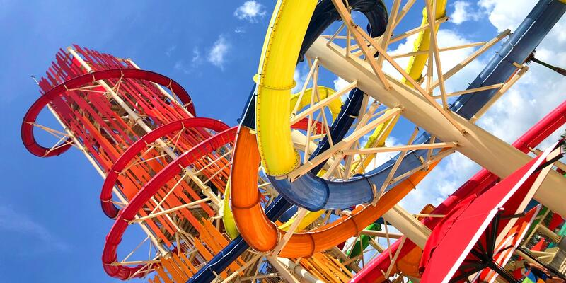 Sideways shot of the colorful water slides at Thrill Waterpark at CocoCay
