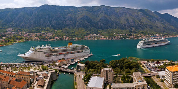 Image: Cruise ships in the Bay of Kotor, Montenegro - Photo by Droneandy via Shutterstock