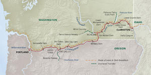 Image: Map of a cruise route along the Columbia and Snake Rivers - Map provided by UnCruise Adventures