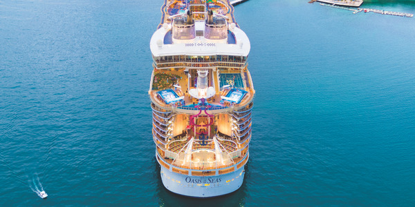 Rendering of the aft exterior of Oasis of the Seas post-refurb